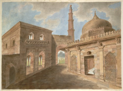 The tomb of Imam Zamin (d.1538-9) and its entrance gateway with the Qutb Minar behind